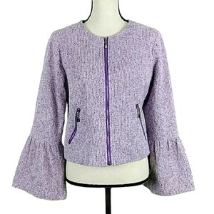 WD NY Purple Tweed Zipper Bell Sleeve Jacket